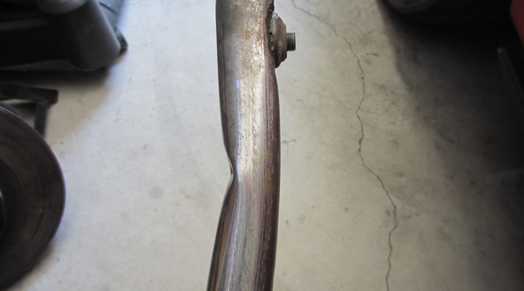 Damaged coolant pipe, viewed from the side