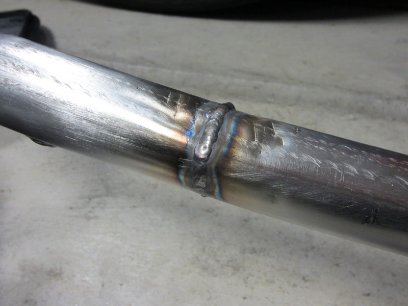 This tube was welded back together using a TIG welder and stainless steel filler rod.
